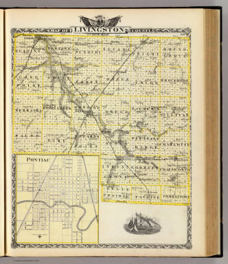 Map of Livingston County and Pontiac. / Warner & Beers ; Union Atlas Co. / 1876