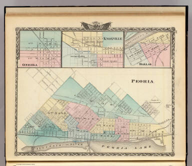 Peoria, Oneida, Knoxville and Dallas. / Warner & Beers ; Union Atlas Co. / 1876