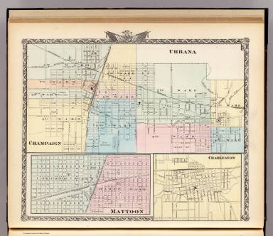 Champaign, Urbana. (with) Mattoon. (with) Charleston. (Union Atlas Co., Warner & Beers, Proprietors. Lakeside Building Cor: of Clark & Adams Sts. Chicago. 1876. Entered ... 1876 by Warner & Beers ... Washington D.C.)