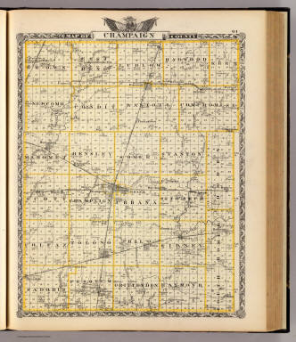 Map of Champaign County. (Union Atlas Co., Warner & Beers, Proprietors. Lakeside Building Cor: of Clark & Adams Sts. Chicago. 1876. Entered ... 1876 by Warner & Beers ... Washington D.C.)