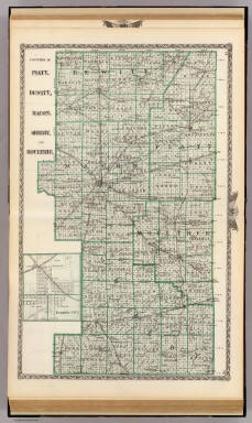 Counties of Platt, De Witt, Macon, Shelby, and Moultrie, and Farmer City. / Warner & Beers ; Union Atlas Co. / 1876