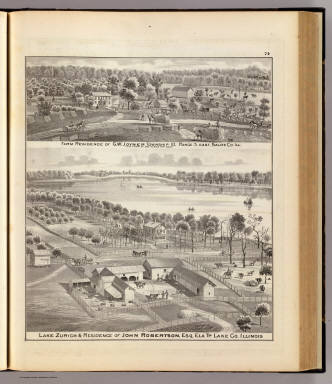 Lake Zurich & residence, Lake Co., and farm residence, Saline Co., Ill. / Warner & Beers ; Union Atlas Co. / 1876