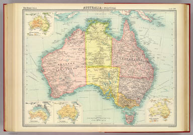 """Australia - political. (with) Prevailing vegetation. (with) January rainfall. (with) July rainfall. (with) Density of population. The Edinburgh Geographical Institute, John Bartholomew & Co. """"The Times"""" atlas. (London: The Times, 1922)"""