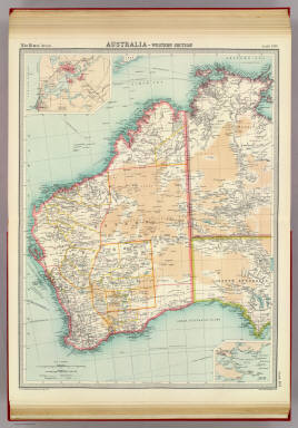 """Australia - western section. (with Perth Region). (with Albany Region). The Edinburgh Geographical Institute, John Bartholomew & Co. """"The Times"""" atlas. (London: The Times, 1922)"""