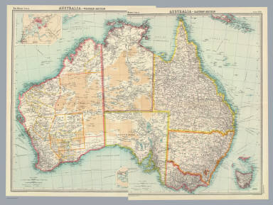 """(Composite of) Australia - eastern, western section. The Edinburgh Geographical Institute, John Bartholomew & Co. """"The Times"""" atlas. (London: The Times, 1922)"""