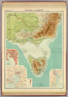 """Victoria & Tasmania. (with) Melbourne. (with Melbourne Region). (with Hobart Region). The Edinburgh Geographical Institute, John Bartholomew & Co. """"The Times"""" atlas. (London: The Times, 1922)"""