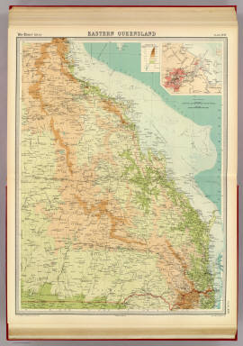 """Eastern Queensland. (with Brisbane Region). The Edinburgh Geographical Institute, John Bartholomew & Co. """"The Times"""" atlas. (London: The Times, 1922)"""