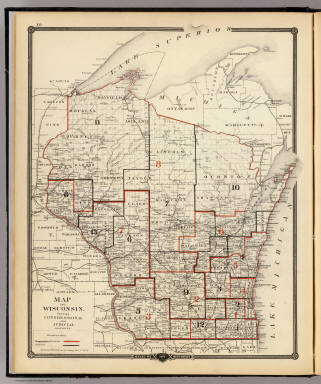 Map of Wisconsin showing congressional and judicial districts. / Snyder, Van Vechten & Co. / 1878