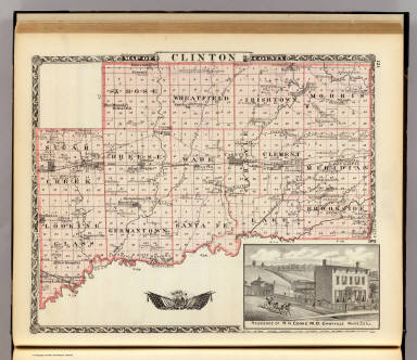 Map of Clinton County, and view of residence in Grayville, White Co., Ill. / Warner & Beers ; Union Atlas Co. / 1876