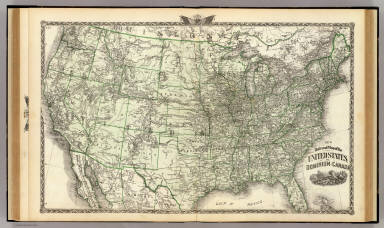 New railroad map of the United States, and Dominion of Canada. (Union Atlas Co., Warner & Beers, Proprietors. Lakeside Building Cor: of Clark & Adams Sts. Chicago. 1876. Entered ... 1876 by Warner & Beers ... Washington D.C.)