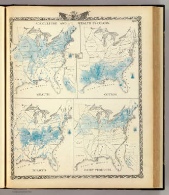 Agriculture and wealth by colors. Wealth. Cotton. Tobacco. Dairy products. / Warner & Beers ; Union Atlas Co. / 1876