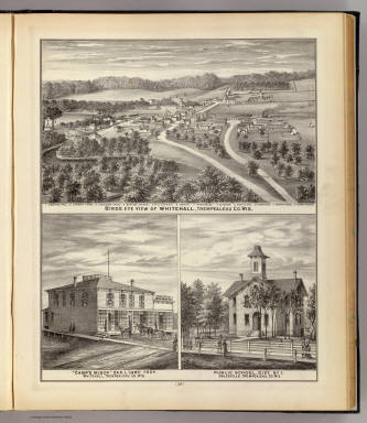 Birds eye view of Whitehall, Camp's Block, Whitehall, School, Galesville, Wis. / Snyder, Van Vechten & Co. / 1878