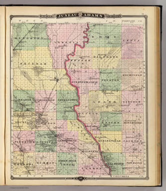 Map of Juneau and Adams counties, State of Wisconsin. / Snyder, Van ...