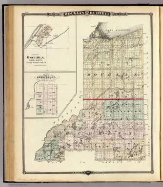 Map Of Douglas And Burnett Counties Osceola And Grantsburg