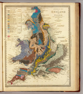 Geological map of England and Wales. Published under the superintendence of the Society for the Diffusion of Useful Knowledge. 1843. Arranged by Roderick Impey Murchison ... S.P. Woodward del. Col(oure)d. by T. Malby. J. & C. Walker sculpt. Published by Chapman & Hall 186 Strand Decr. 15th. 1843. (1844)