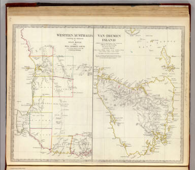 Western Australia containing the settlements of Swan-River and King George's Sound from recent surveys sent to the Colonial Office. Van-Diemen (sic) Island. Published under the superintendence of the Society for the Diffusion of Useful Knowledge. From the M.S. map in the Colonial Office. J. & C. Walker sculp. London, published by Baldwin & Cradock, 47 Paternoster Row, April 1st. 1833. Printed by E. Brain. (London: Chapman & Hall, 1844)