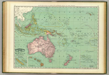 Rand, McNally & Company's indexed atlas of the world map of Oceania and Malaysia. (with) New Caledonia and Loyalty Islands. (with) Hawaiian or Sandwich Islands. Copyright 1892, by Rand, McNally & Co. ... Engravers, Chicago, (1897)