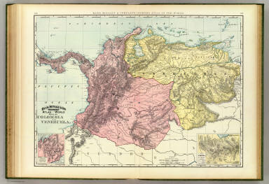 Rand, McNally & Co.'s indexed atlas of the world map of Colombia and Venezuela. (with) Isthmus of Panama showing location of railroad and canal. (with) Map showing railroad between Caracas and La Guayra. Copyright 1892, by Rand, McNally & Co. ... Engravers, Chicago, (1897)