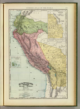 Rand, McNally & Co.'s indexed atlas of the world map of Bolivia, Ecuador, and Peru. Copyright 1892, by Rand, McNally & Co. ... Engravers, Chicago, (1897)