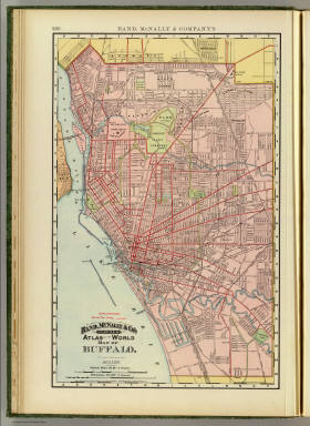 Rand, McNally & Co.'s indexed atlas of the world map of Buffalo. Rand, McNally & Co's New business atlas map of Buffalo. Copyright, 1892, by Rand, McNally & Co. ... Engavers, Chicago. (1897)