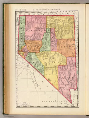 Rand, McNally & Co.'s new business atlas map of Nevada. Copyright, 1893, by Rand, McNally & Co. (Chicago, 1897)