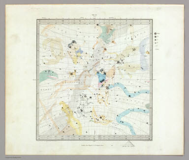 Anno 1830. No. 2. December, January, February. (The Stars, in six maps, on the gnomonic projection, revised by the Rev. W.R. Dawes. Under the superintendence of the Society for the Diffusion of Useful Knowledge). Drawn by W. Newton. The constellations by W. Clarke archt. Engraved by J. & C. Walker. London: Chas. Knight & Co., 22, Ludgate Street. (1844)