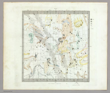 Anno 1830. No. 4. June, July, August. (The Stars, in six maps, on the gnomonic projection, revised by the Rev. W.R. Dawes. Under the superintendence of the Society for the Diffusion of Useful Knowledge). Drawn by W. Newton. The constellations by W. Clarke archt. Engraved by J. & C. Walker. London: Chas. Knight & Co., 22, Ludgate Street. (1844)