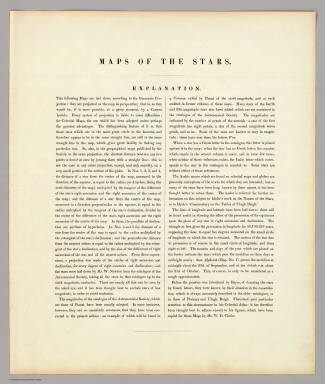 (Contents to) The Stars, in six maps, on the gnomonic projection, revised by the Rev. W.R. Dawes. Under the superintendence of the Society for the Diffusion of Useful Knowledge. London: Charles Knight & Co., 22, Ludgate Street. MDCCCXLIV