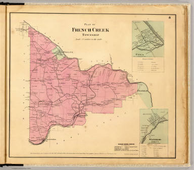 Plan of French Creek Township. (with) Utica. (with) Waterloo, Polk P.O. Entered ... 1865 ... Southern District of New York by F.W. Beers & Co. Ferd. Mayer & Co. Lithographers, 96 Fulton St., N.Y.