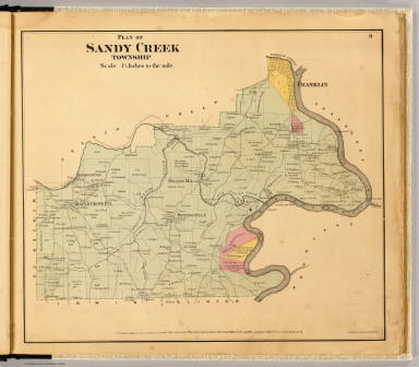 Plan of Sandy Creek Township. Entered ... 1865 ... Southern District of New York by F.W. Beers & Co. Ferd. Mayer & Co. Lithographers, 96 Fulton St., N.Y.