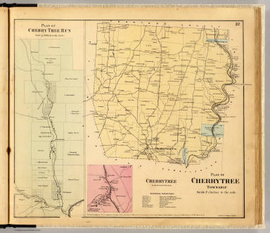 Plan of Cherrytree Township. (with) Plan of Cherry Tree Run. (with) Cherrytree. Entered ... 1865 ... Southern District of New York by F.W. Beers & Co. Ferd. Mayer & Co. Lithographers, 96 Fulton St., N.Y.