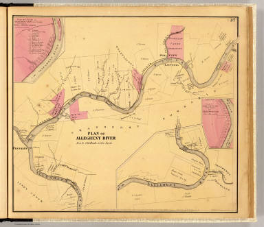 Plan of Allegheny River (below Franklin to above Oil City). Entered ... 1865 ... Southern District of New York by F.W. Beers & Co. Ferd. Mayer & Co. Lithographers, 96 Fulton St., N.Y.