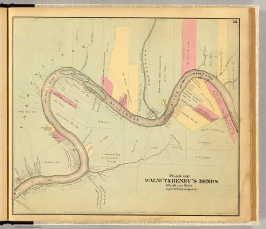 Plan of Walnut & Henry's bends, Allegheny River. Entered ... 1865 ... Southern District of New York by F.W. Beers & Co. Ferd. Mayer & Co. Lithographers, 96 Fulton St., N.Y.