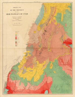 Geological map of the district of the high plateaus of Utah. / Geographical and Geological Survey of the Rocky Mountain Region (U.S.); Dutton, Clarence E. (Clarence Edward), 1841-1912; Thompson, A. H. (Almon Harris), 1839-1906; Renshawe, J. H. (John Henry), 1852- ; Graves, W. H. / 1879