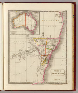Colony of New South Wales. (with) Australia. By Sidney Hall. London, published by Longman, Rees, Orme, Brown & Green, Paternoster Row, April, 1828.