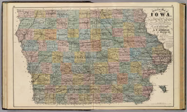 Sectional map of Iowa. / Ensign, D. W. / 1875