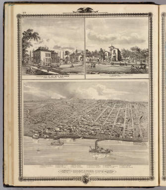 Bird's eye view of Muscatine City; residences in Des Moines & Dubuque, Iowa. / Andreas, A. T. (Alfred Theodore), 1839-1900 / 1875