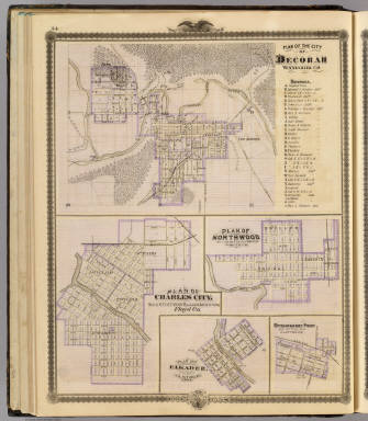 Plans of Decorah, Charles City, Northwood, Elkader and Strawberry Point. / Andreas, A. T. (Alfred Theodore), 1839-1900 / 1875