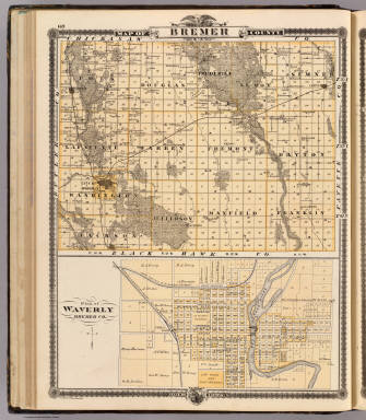 Map of Bremer County, Plan of Waverly, State of Iowa. / Andreas, A. T. (Alfred Theodore), 1839-1900 / 1875