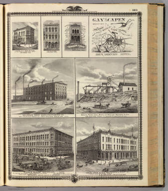 Businesses, coal mine, and plow advertisement, Des Moines and Oskaloosa, Iowa. / Andreas, A. T. (Alfred Theodore), 1839-1900 / 1875