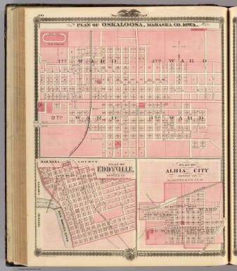 Plans of Oskaloosa, Eddyville and Albia City, State of Iowa. / Andreas, A. T. (Alfred Theodore), 1839-1900 / 1875