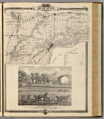 Map of Muscatine County, State of Iowa and view of Allendale Farm ...