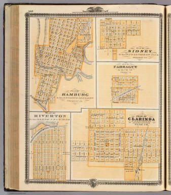 Plans of Hamburg, Sidney, Farragut, Riverton and Clarinda, Iowa. / Andreas, A. T. (Alfred Theodore), 1839-1900 / 1875