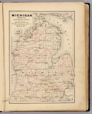 Michigan showing contour lines. / Winchell, Alexander, 1824-1891; Walling, H. F. / 1873