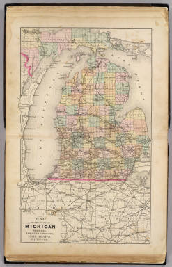 Map of the State of Michigan showing counties, townships, rail roads, ... / Walling, H. F. / 1873