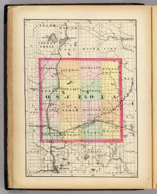 Map Of Osceola County Michigan Walling H F 1873