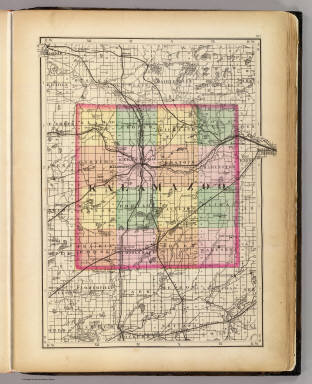 Map of Kalamazoo County Michigan Walling H F 1873