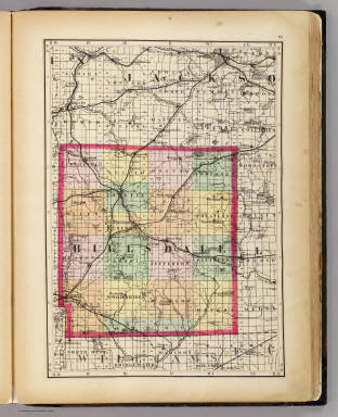(Map of Hillsdale County, Michigan. Drawn, compiled, and edited by H.F. Walling, C.E. ... Published by R.M. & S.T. Tackabury, Detroit, Mich. Entered ... 1873, by H.F. Walling ... Washington. The Claremont Manufacturing Company, Claremont, N.H., Book Manufacturers)