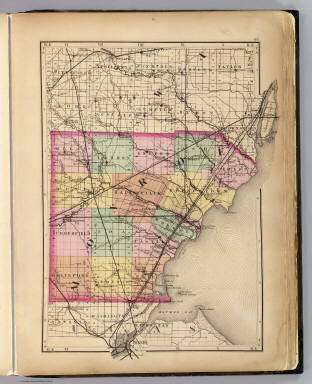 (Map of Monroe County, Michigan. Drawn, compiled, and edited by H.F. Walling, C.E. ... Published by R.M. & S.T. Tackabury, Detroit, Mich. Entered ... 1873, by H.F. Walling ... Washington. The Claremont Manufacturing Company, Claremont, N.H., Book Manufacturers)