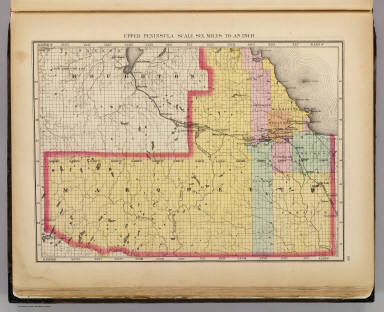 Upper Peninsula, scale six miles to an inch (Marquette County. Drawn, compiled, and edited by H.F. Walling, C.E. ... Published by R.M. & S.T. Tackabury, Detroit, Mich. Entered ... 1873, by H.F. Walling ... Washington. The Claremont Manufacturing Company, Claremont, N.H., Book Manufacturers)